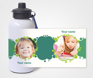 Water Bottles printing Green Brush Spots & Kids Picture
