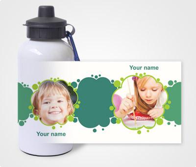 Online Water Bottles printing Green Brush Spots & Kids Picture