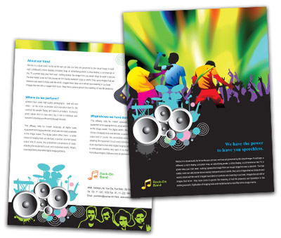 Online Single Page Brochures printing Rock Band