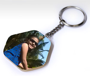 Key Chains printing Acrylic Hexagone Keychain