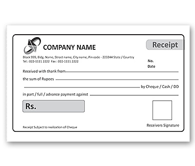 bill book design for office cash receipt offset or digital printing