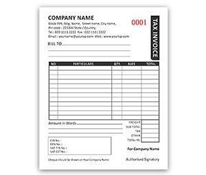 Bill Book printing Invoice A6