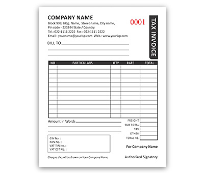 Bill Book Design For Invoice A6 Offset Or Digital Printing
