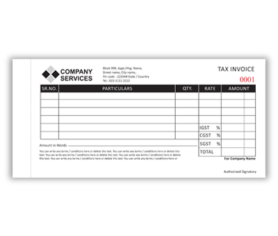 Online Bill Book printing Invoice DL Size