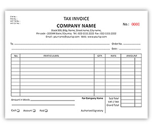 Bill Book printing A5 Tax Invoice