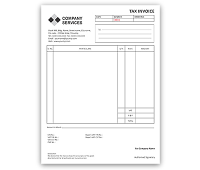Bill Book Design For Tax Invoice A4 Portrait Offset Or Digital Printing