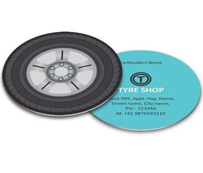 Online Business Card - Die Cut printing Tyre Shop