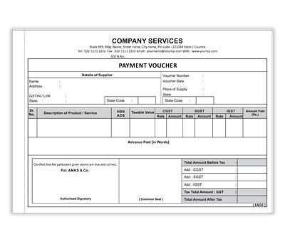 Online Bill Book printing Payment Voucher