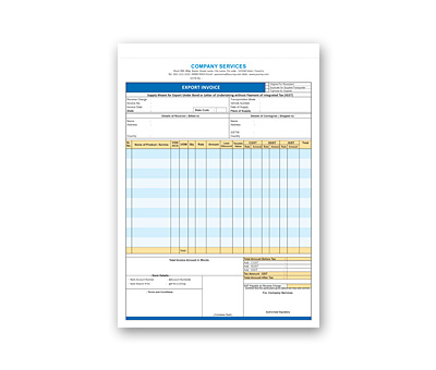 Online Coloured Bill Book printing Export Invoice