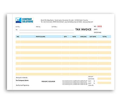 Coloured Bill Book printing Tax Invoice