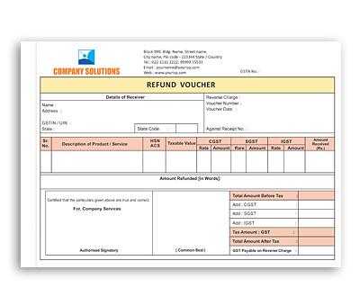 Online Coloured Bill Book printing Refund Vouchre