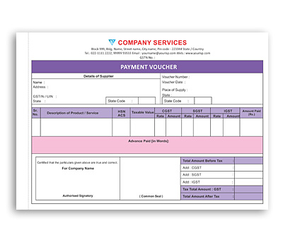 Online Coloured Bill Book printing Payment Voucher
