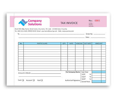 Coloured Bill Book Design For Tax Invoice Offset Or Digital Printing