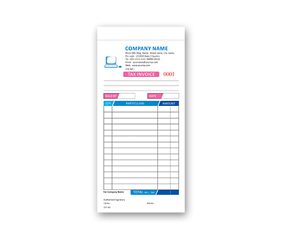 Online Coloured Bill Book printing Tax Invoice