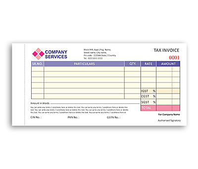 Coloured Bill Book printing Tax Invoice