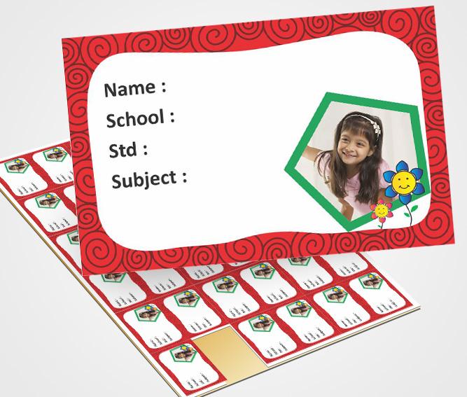Online School Note Book Label printing Floral Image