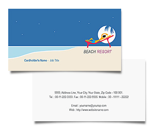 Business Card printing Beach Club Resort