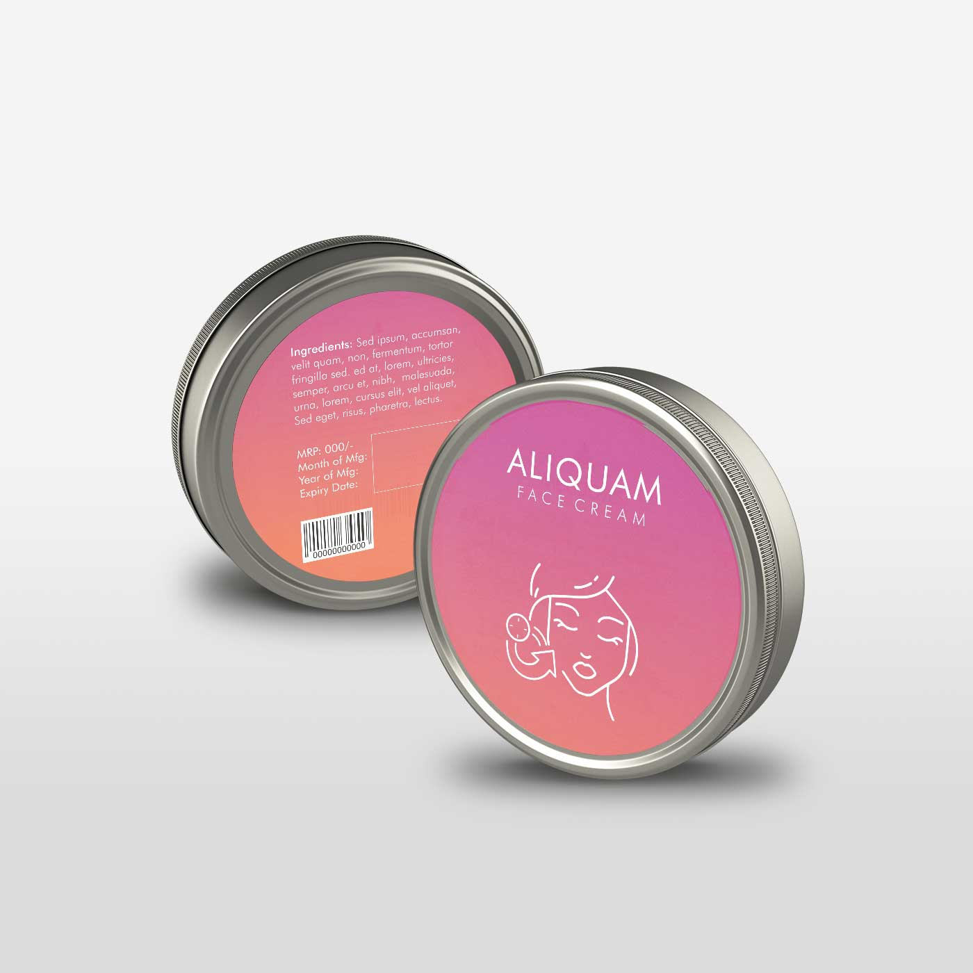 Online Labels printing Face Cream  Label 3X3