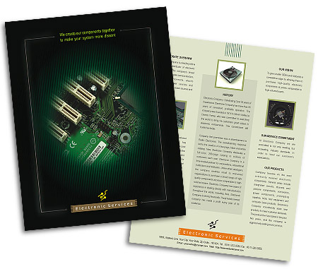 Online Single Page Brochures printing Electronics Store
