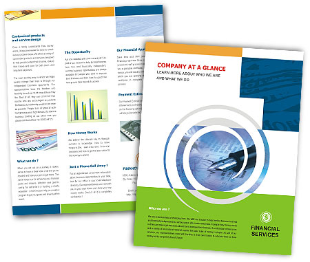 Online Single Page Brochures printing Financial Services